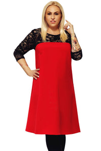 Red O Neck Lace Splice Plus Size Dress