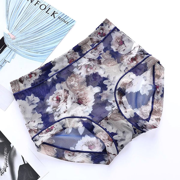 Ladies Sexy Hip Modal Printed Underwear Comfortable Breathable Mesh Waist