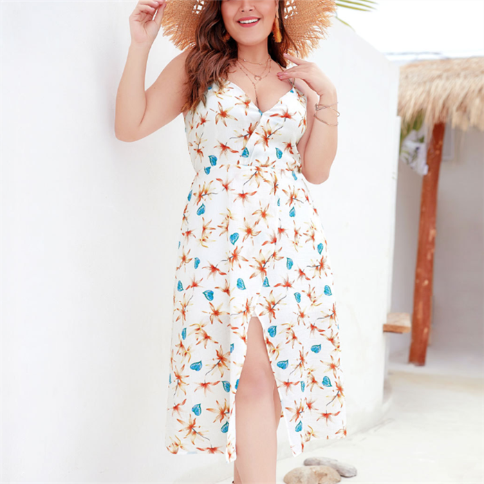 Plus-size sexy v-neck sling print dress