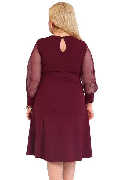 Burgundy Sequined Round Neck Plus Size A-line Dress