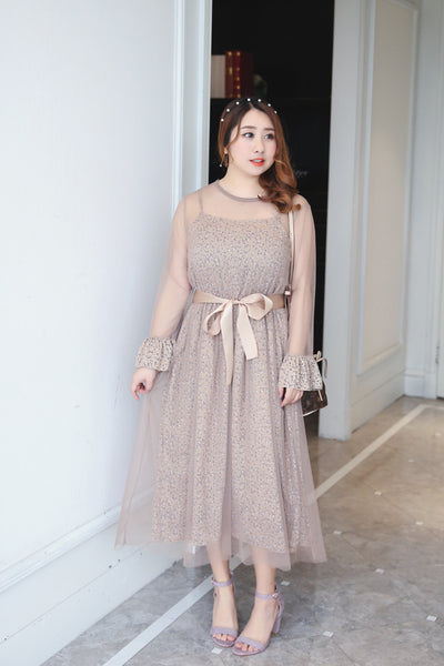Spring and summer new large and fat mm women's lace quality fake two piece mesh skirt waist closing dress