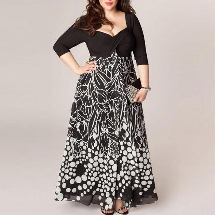 Plus-Size Sexy Print Dress