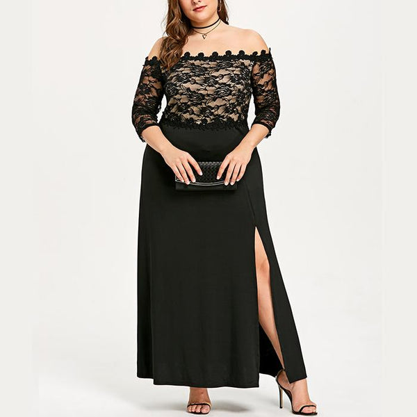 Plus-Size Sexy One-Word Shoulder Lace Patchwork Dress