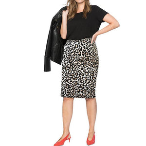 Plus Size Commuting Leopard Print Package Buttocks Skirt