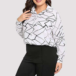 Plus Size Commuting Turndown Collar Long Sleeve Check Blouse