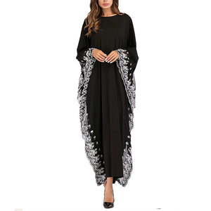 Fashion Embroidered Bat Sleeve Dress