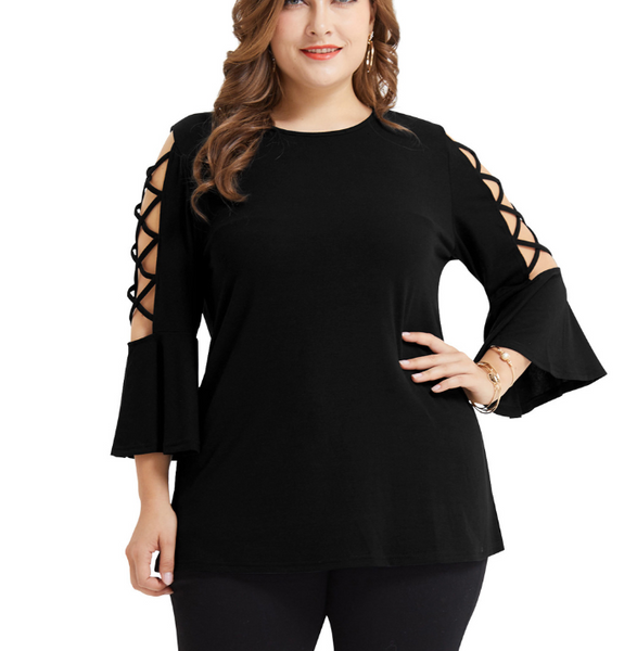 Plus-Size Sexy Solid Color Hollowing Out Flared Sleeve T-Shirt