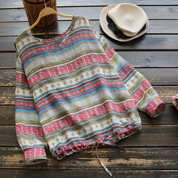 Geometric Stripe V Neck Long Sleeve T-Shirt