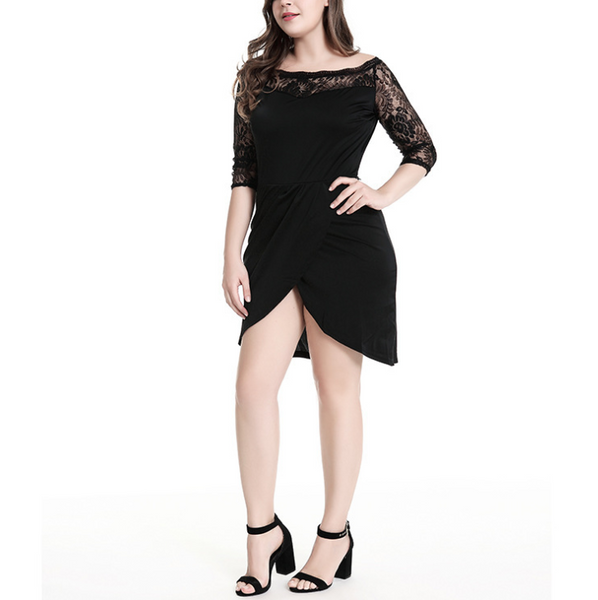 Plus-size one word collar irregular lace sleeve splicing dress
