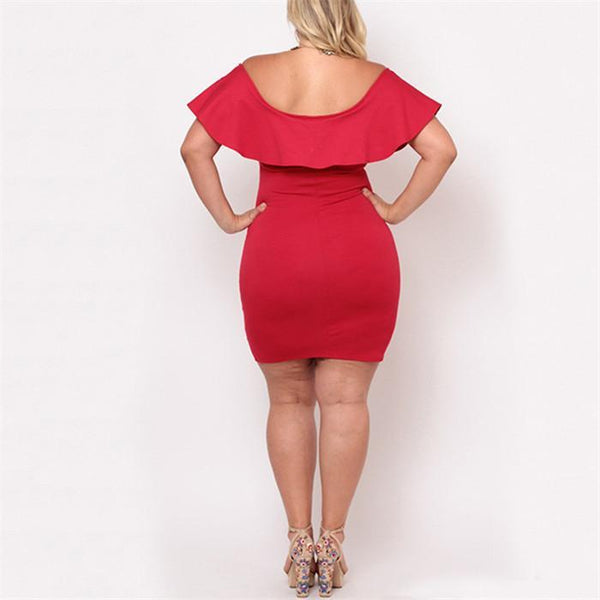 Plus-Size Sexy Pure Color Flounces Knitting Dress