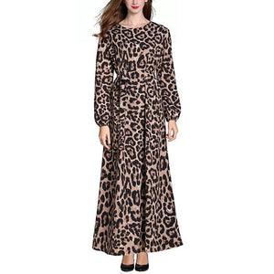 Plus-Size Fashion Sexy Leopard Print Long Sleeves Round Neck Dress