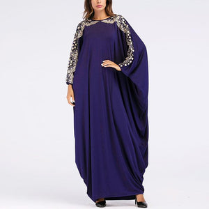 Fashion Sequined Bat Sleeve Long Sleeve Dress