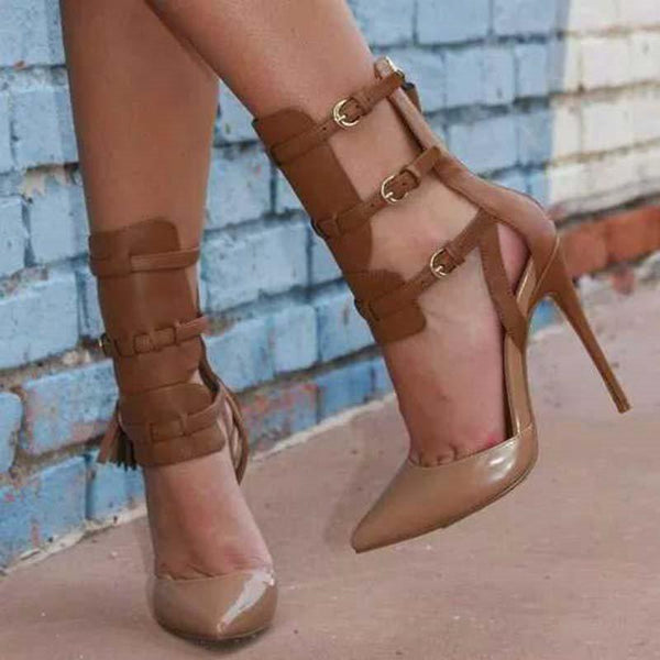 Pointed Toe Stiletto Heel Buckle Buckle Casual Ultra-High Heel Thin Shoes