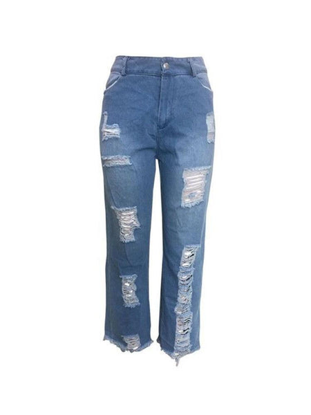 Plain Straight Washable Loose Mid Waist Jeans