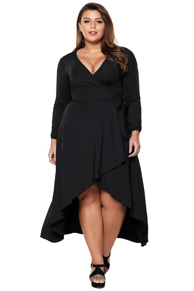 Black Ruffle Wrap Plus Size Hi-low Dress