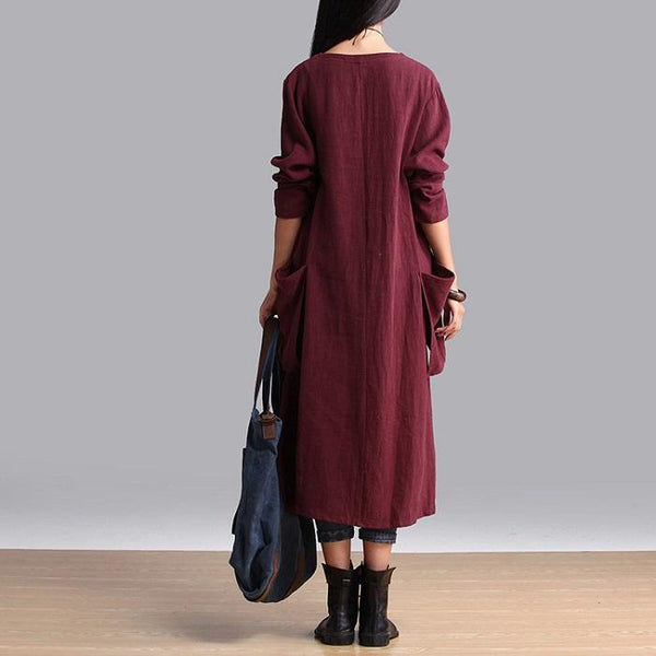 Large Size Literary Long Sleeve Loose Casual Cotton And Linen Dress