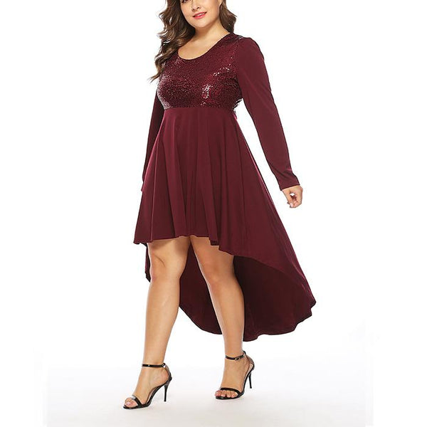 Plus-Size Sexy Sequined Long Sleeves Dress