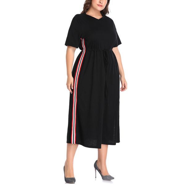 Plus-Size Contrast Color Sexy Splicing Dress