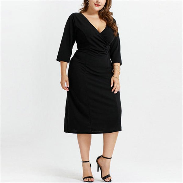 Plus-Size Fashion Solid Color V-Neck Dress