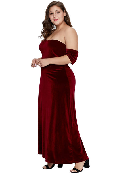 Burgundy Sweetheart Bandeau Off Shoulder Plus Velvet Gown