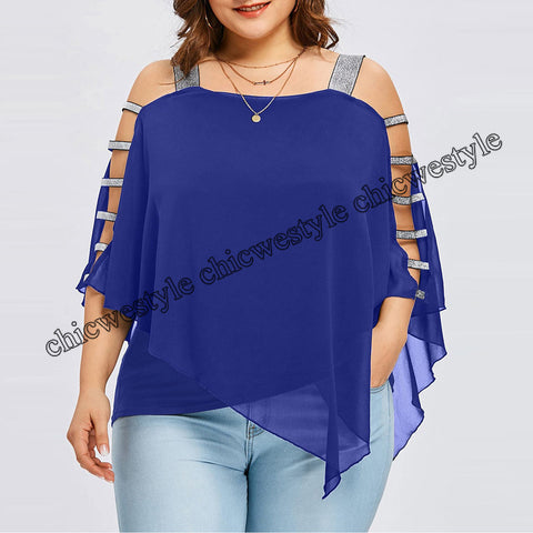 Plus Size Summer Fashion Women Chiffon Strapless Ladies Loose Shirt Tops Casual Long Sleeve Blouse