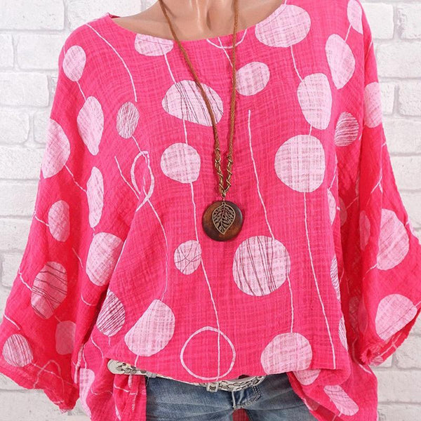 Printed Bat Sleeves Large Lady's Shirt