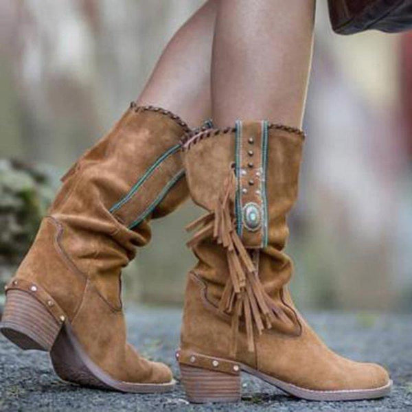 Fringed Suede Mid-calf Boots