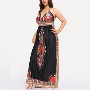 Halter Print Vintage Long Dress