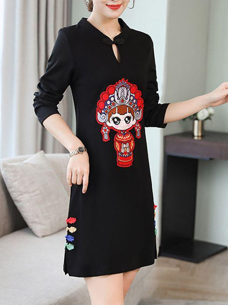 CHICWESTYLE Sheath Elegant Graphic Long Sleeve Holiday Slit Printed Plus Size Dresses