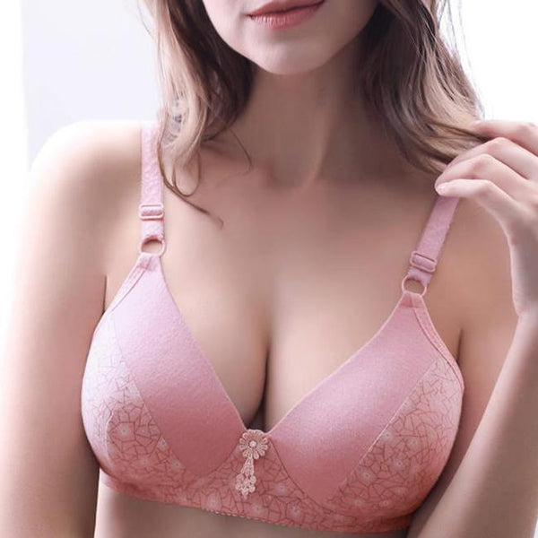 D cup Thin Without Steel Ring Gathering Adjustable Bra