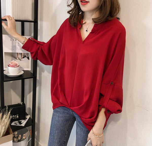 Fashion Solid Color Loose Large Size Bat Sleeve Shirt