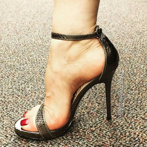 Heel Covering Open Toe Stiletto Heel Line-Style Buckle Buckle Low-Cut Upper Sandals
