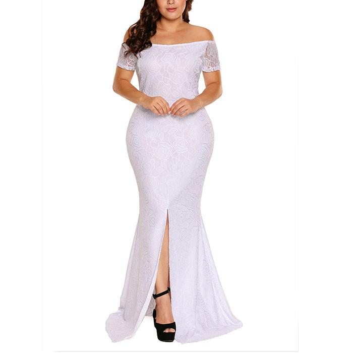 Plus-size pure color one word shoulder sexy lace dress