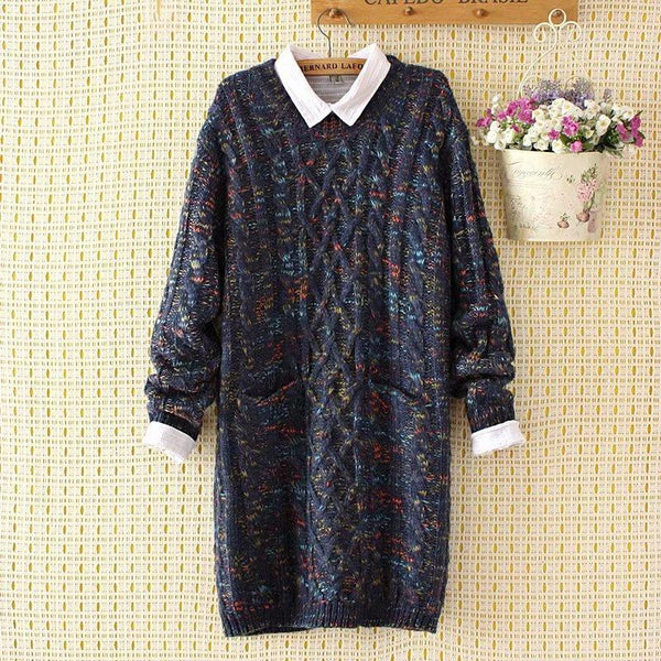 Splicning Color Large Size Loose Knitted Sweater