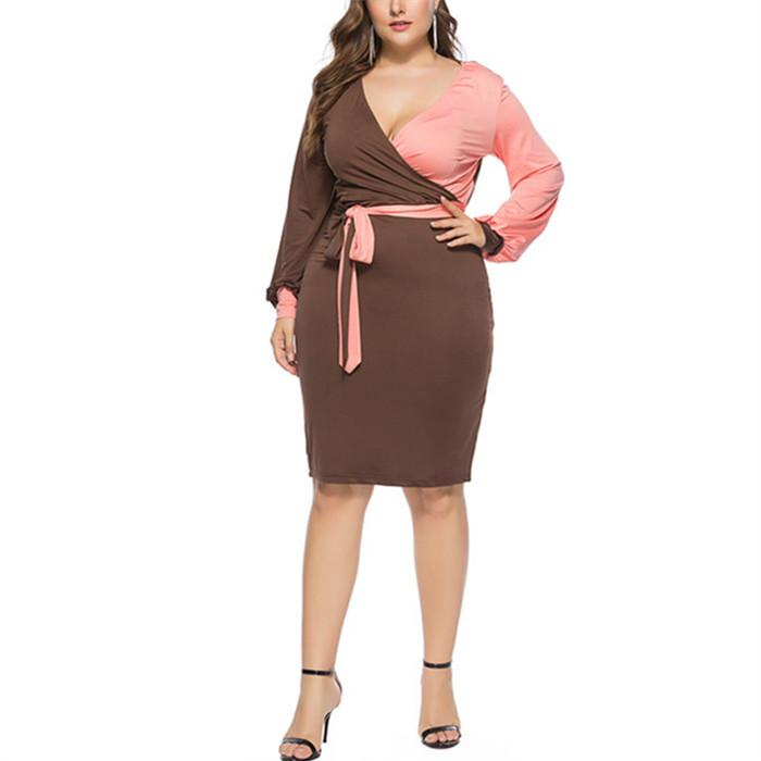Contrasting Colors Lantern Long Sleeve Sexy Mini Dress