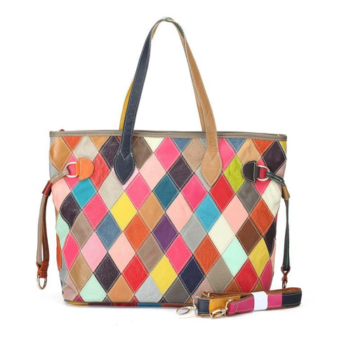 Retro Colorful Splicing Color Plaid Stitching Shoulder Bag