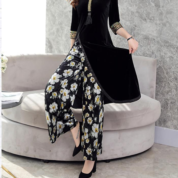 Velvet Cheongsam Printed Wide-Leg Trousers Two Piece Suit