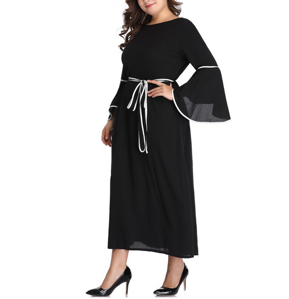 Plus-size fashion solid color round collar flared sleeve dress