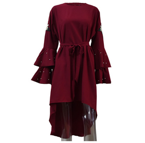 Plus-Size Embroidery Long Sleeves Irregular Round Collar Dress