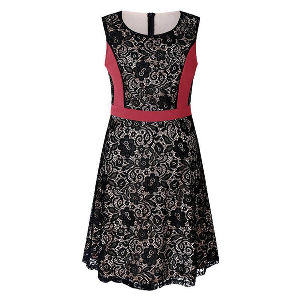 A Large Color Splice Lace Sleeveless Mini Dress Vintage
