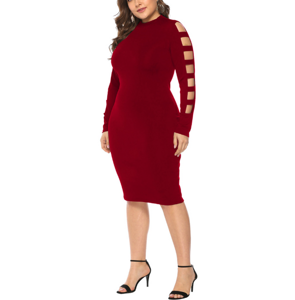 Plus-size long sleeves hollowing out solid colors dress