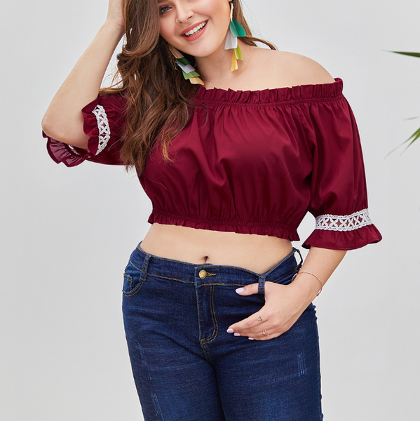 Plus-Size One Word Shoulder Lace Splicing Loose Short Sleeves T-Shirt