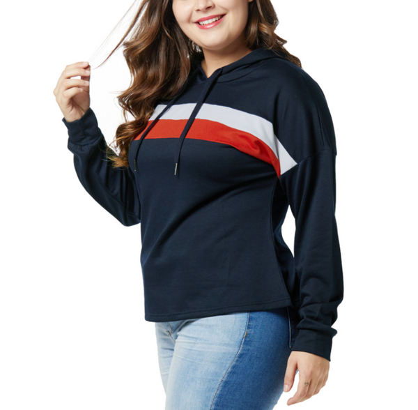 Fashion Large Size Striped Splicing Hoodies