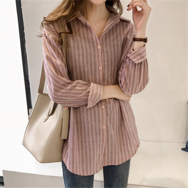 Casual loose striped long-sleeved shirt