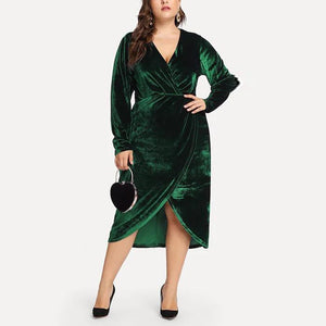 Plus-Size Golden Velvet V-Neck Long Sleeve Fashionable Irregular Dress