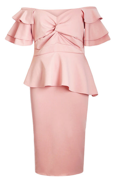 Pink Plus Size Tiered Sleeve Twisted Peplum Dress