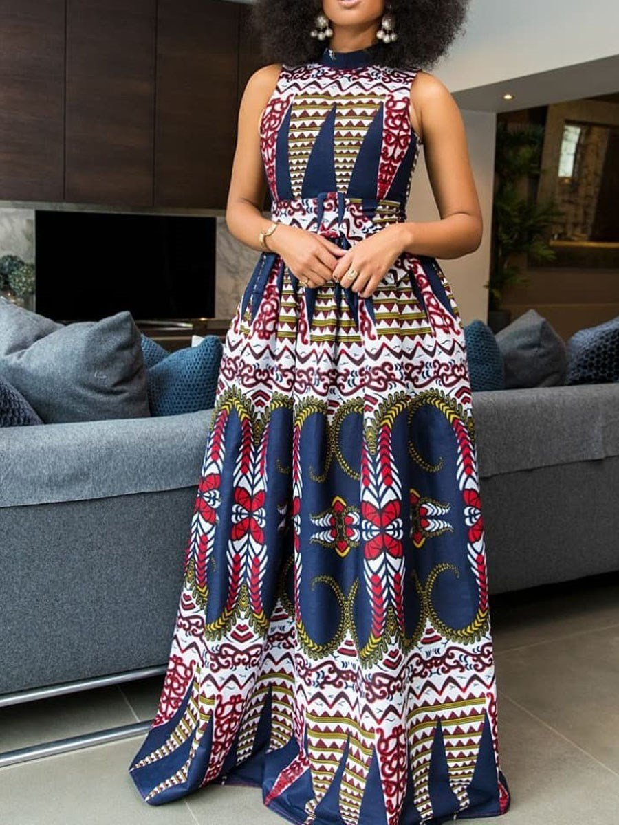 Sleeveless Floor-Length Print Western Expansion Dress