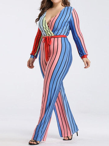 Lace-Up Full Length Fashion Slim Straight Jumpsuit