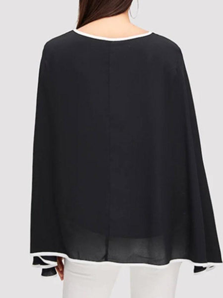 Color Block Round Neck Batwing Sleeve Long Sleeve Standard Blouse