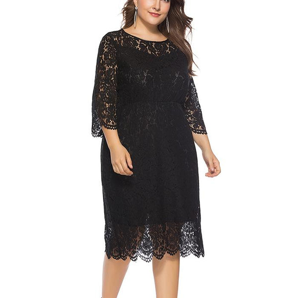 Plus-Size Pure Color Hollowed Out Lace Round Neck Dress